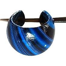 Chic-Net Madera Aros Pin-Pin aros de los pendientes de madera de coco para mujer de joyería de resina azul Negro