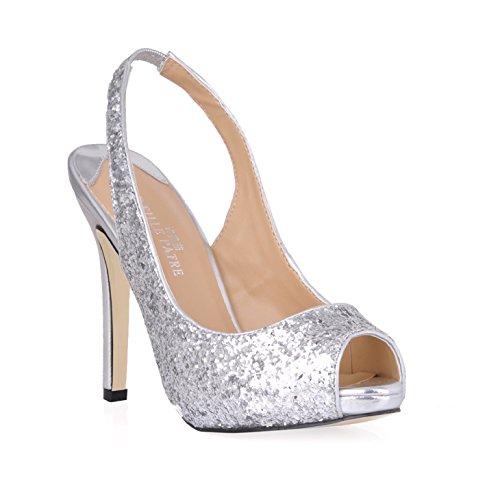 Klicken Sie auf Frauen fallen neue Produkte nach der Hochzeit leer fischen Tipp Frauen Schuhe große silberne Fein high-heel Schuhe, Silber - silber (Glitter High Green Heel Schuhe)
