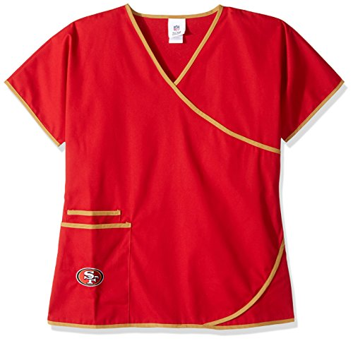 NFL San Francisco 49erswomen 's Mock Wrap Scrub Top, Medium, Rot