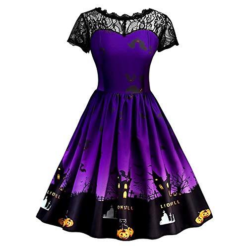 EisEyen Fashion Damen Halloween Cocktailkleid, Druckt Vintage Kleid Partykleid