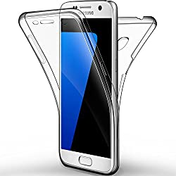 Coque Etui Galaxy S7, Leathlux Silicone Gel Case Avant et Arrière Intégral Full Protection Cover Transparent TPU Housse Anti-rayures pour Galaxy S7 5.1""