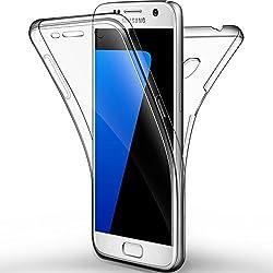 "Coque Etui Galaxy S7, Leathlux Silicone Gel Case Avant et Arrière Intégral Full Protection Cover Transparent TPU Housse Anti-rayures pour Galaxy S7 5.1"""