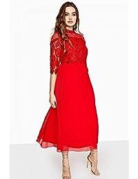 46b9e3eb0 Little Mistress Curvy - Vestido de Encaje guipur para Mujer