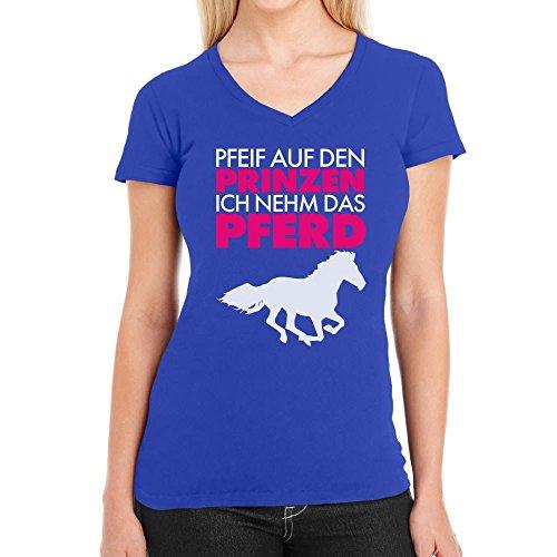 Woman Pfeif auf den Prinz nehme das Pferd Damen T-Shirt V-Ausschnitt Blau