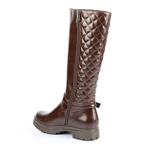 Ideal Shoes–Stivali levigate con parte imbottita e cinturone Laurelle Marrone