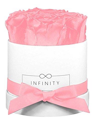 Infinity Flowerbox Small (Weiß) - 4 echte Premiumrosen in Bridal Pink (Flower Box)