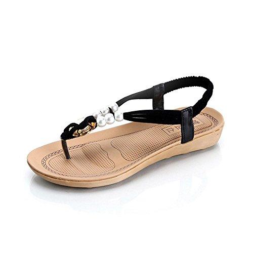 Saingace Frauen Perlen Böhmen Freizeit Dame Sandalen Peep-Toe Flip Flops flache Schuhe Schwarz