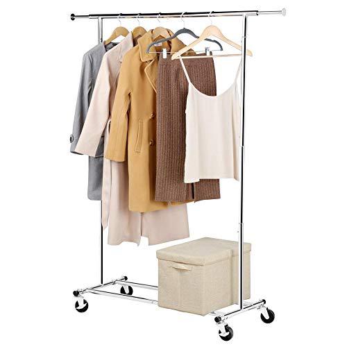 Yaheetech Kleiderständer Metall Garderobenständer auf Rollen Kleiderstange längenverstellbar Wäscheständer belastbar bis 90 kg