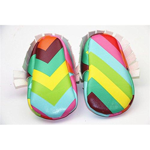 Baby Jungen Mädchen Regenbogen Pu Leder Weich Sohle Mokassins Krippe Schuhe Rainbow