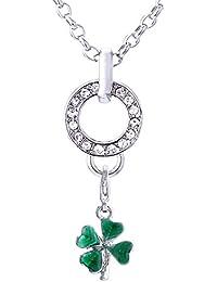 Morella Edelstahl Charm Halskette 70 cm und Charm Anhänger Glücksklee Irland in Samtbeutel