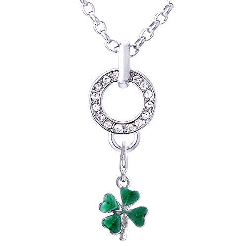 Flipper Zurück (Morella Edelstahl Charm Halskette 70 cm und Charm Anhänger Glücksklee Irland in Samtbeutel)