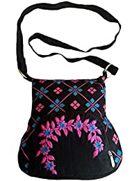 Fly Angels Women's Sling Bag With Front Printed And Embroidery (black)