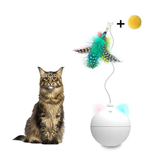 iBàste Pet Toy Ball Robot Giocattolo per Gatti interattivo LED Rolling Flash Ball Automatico Divertente Gatto Rod Badminton Movimento Casuale Bianco