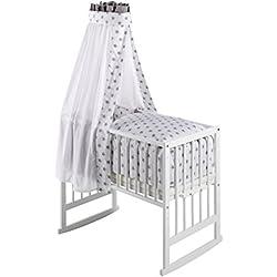 Schardt Berceau Bébé Multifonctionnel Vario Blanc avec Textiles Big Stars Grey