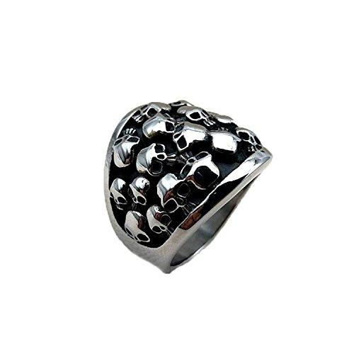 chuhe mit Hip Hop Ring mit Totenkopf-Skelett-Ring, Edelstahl, silber Punk mit Ringen, ideal als Geschenk für Männer (Größe: V, 1/2) (Mädchen Silber Skelett Kostüme)