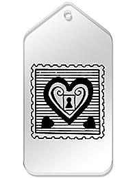 Azeeda 10 x Grande Sello Candado Corazón Etiquetas claras DE 99 mm x 51