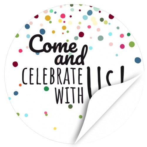 rund / Come and celebrate with us / Hochzeit / Liebe / Party / Heirat / Geburtstag / Einladung / Aufkleber / Sticker ()
