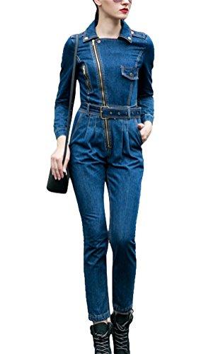 Ghope Damen Jeanshose, Einfarbig Gr. 34, blau
