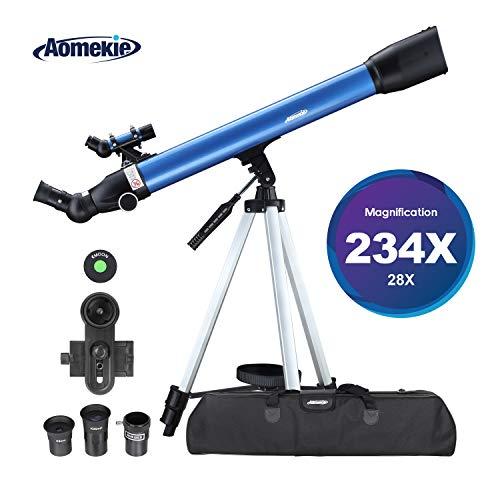 Aomekie Telescopio Astronomico 70/600 Telescopio Niños Principiante con Trípode Adaptador para Teléfono Filtro de Luna y Lente 3X Barlow (F70060MM)
