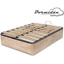 Dormidán - Canapé abatible gran capacidad esquinas redondeada en madera maciza, tapa somier multiláminas con regulación lumbar 90x190cm, color roble