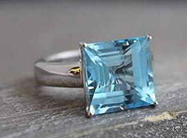 15mm Prinzessschliff Blautopas Sterling Silber Ring US-Größe 8 / Diameter 18.2mm