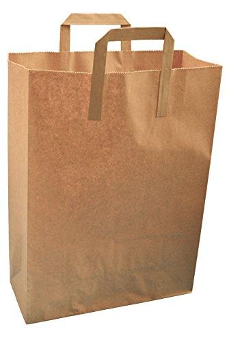 250 braunem Packpapier Thepaperbagstore Träger SOS Imbiss Taschen Extra Large 30x40x15cm (Papier-tragetaschen Groß)