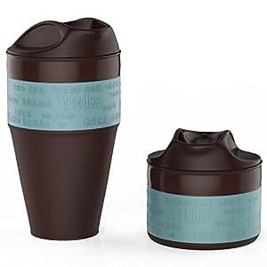 Jerrybox Faltbarer Kaffeebecher mit verschließbarem Deckel, Coffee to go Becher, Zusammenlegbare Silikon Kafeetasse 0,35l, Platzsparend und Umweltfreundlich, Tragbarer und Praktischer Reisebecher für Radfahren, Camping, Picknick und Alltagsleben (350 ml, Blau)