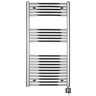 Anapont Electric Towel Rail Chrome Curved High Quality in Various Sizes Available including Heating Element and Heating Ktx 4, Towel Rail, Towel Dryer (1175 H x 600b)