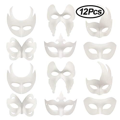 (Lionsoul Weiße DIY Masken, 12 Stück unbemalte Maskerade Masken Plain Half Face Masken für Halloween Karneval Cosplay Kostüm)