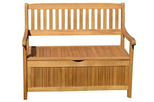 DYNAMICO Ploß Aufbewahrungsbank und Hochwertige Kissenbox in Natur, Gartenbank aus Akazien-Holz, Hochwertige und Stilvolle Holz-Bank von Ploss