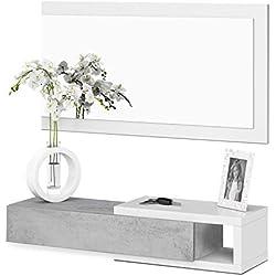 Habitdesign 0L6743A - Meuble d'entrée avec tiroir et miroir, mobilier d'entrée modèle midi, Blanc Artik et Gris Ciment, dimensions: 95 cm (largeur) x 19 cm (hauteur) x 26 cm (profondeur)