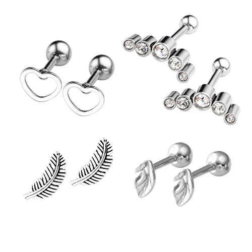 4 Pairs Stainless Steel Heart Le...