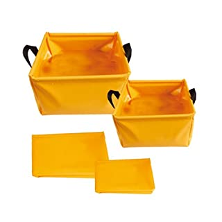AceCamp 5/10Litre Camping Outdoor Folding Bowl Made from Durable Vinyl–Compact and Light Weight, Orange, Orange, 5 L & 10 L Set