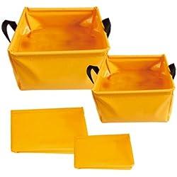 AceCamp Set 5 & 10 Liter Outdoor Faltschüssel, Faltbare Camping Waschschüssel aus langlebigem Vinyl, Platzsparend und Leicht, Orange, 1700/3-set