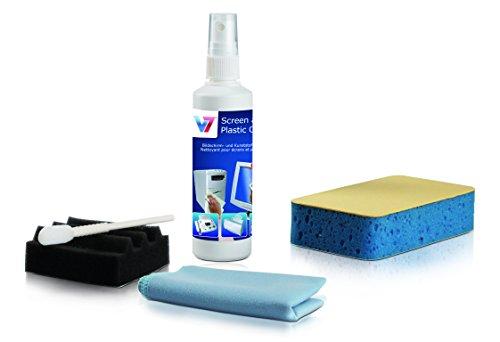 V7 VCL1491 Reinigungs Set 5 teilig für PC und Zubehör (125ml Reiniger in Pumpflasche für Display und Kunststoff, Spezial-Schwamm, Mikrofaser Tuch, Spezial Reinigungs Tool),weiß