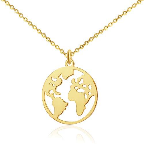 Good.Designs ® Damen Weltkugel Halskette mit Weltkarte Anhänger Kette Halskette Gold goldene Globuskette Globusanhänger goldfarben goldeneKette Kettegold rund Damenhalskette Damenkette