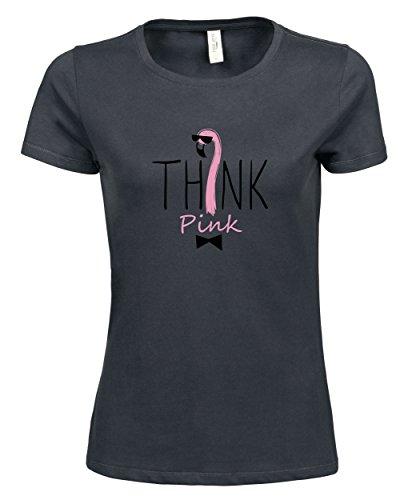 makato Damen T-Shirt Luxury Tee Think Pink Dark Grey
