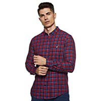 Amazon Brand - House & Shields Men's Checkered Regular fit Casual Shirt (SS20-HS-RR-01-A_Red&Navy L)