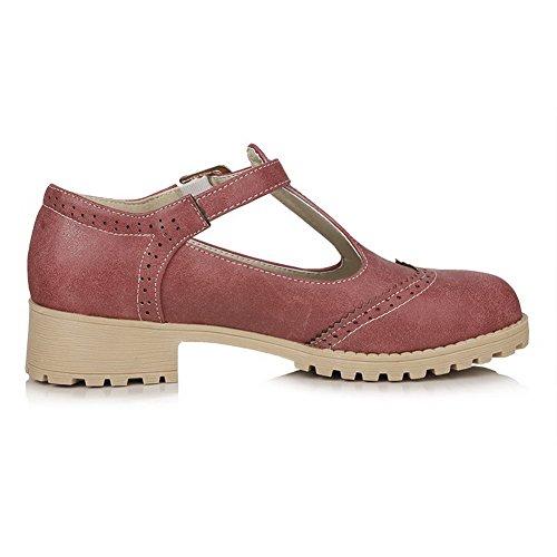 VogueZone009 Femme Boucle à Talon Bas Pu Cuir Couleur Unie Rond Chaussures Légeres Rose