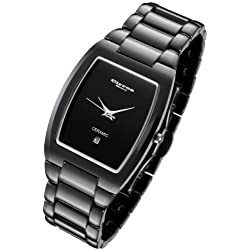 Cirros Milan Luxury Unisex Black Ceramic Watch with Date. Model 2296GB