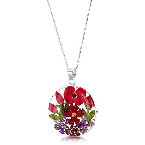 Shrieking Violet: Kettenanhänger - Mohn & Rose - rund - 925 Sterling Silber - 45 cm Kette (Mohn Sterling Silber)