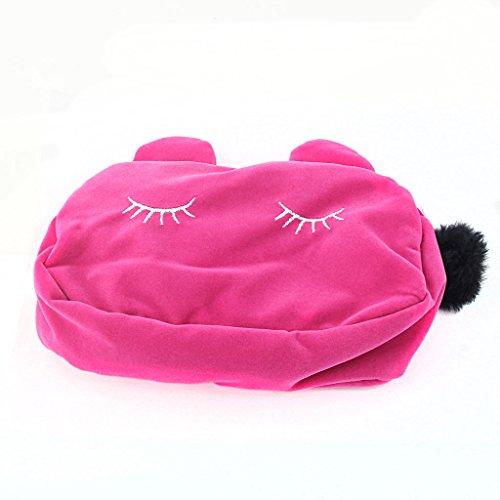Chat Plumier Pochette à Crayon Sac de Rangement Cosmétique Sac de Maquillage - Rose Rouge