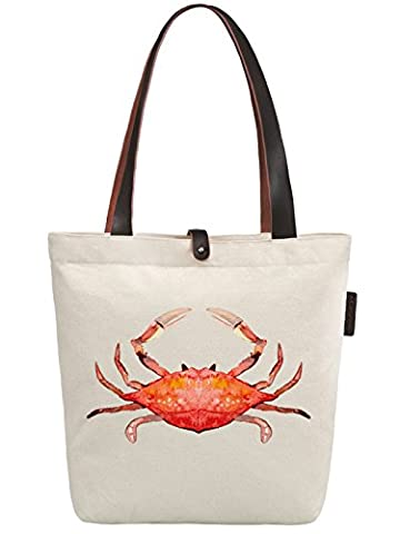 So'each Women's Crab Water Color Graphic Canvas Handbag Tote Shoulder Bag