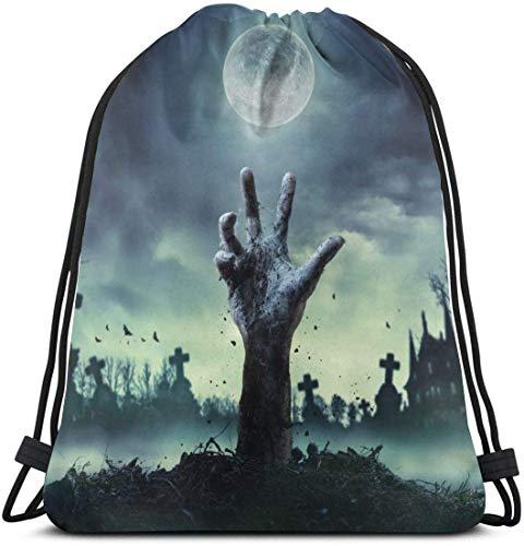 NA Zombie Hand Rising Out of A Grave Personalisierter klassischer tragbarer Kordelzug-Rucksack 36,2 x 39,9 cm für Fitnessstudio, Schule