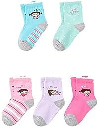Mxssi 5Pairs/lote Calcetines Niños Dibujos Animados Lindo Sudor Transpirable Patchwork Impreso Calcetines Casuales Algodón para Bebés Niños