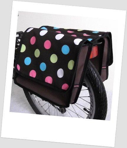 T-JOY-26 Fahrradtasche JOY dots 1 brown Kinderfahrradtasche Satteltasche Gepäckträgertasche 2 x 5 Liter KINDER
