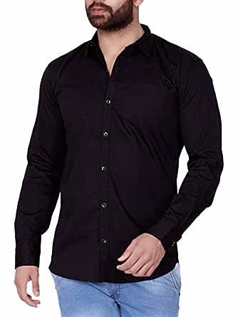 jugend Black Plain/Solid Cotton Slim fit Casual Shirt for Men