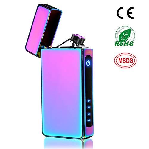 NASUM Mechero Electrico, Encendedor Electrico de Doble Arco sin Llama - Mechero Recargable y Resistente al Viento (Acampada) con Cable USB, Mechero de Plasma Seguro sin Gas Colorido