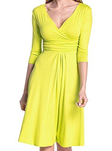 Glamour Empire Damen Kleid Tiefer V-Ausschnitt Sommerkleid Cocktailkleid 282 Zitrone