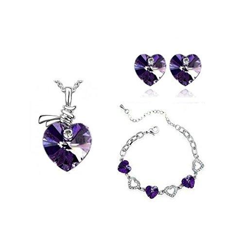 Parure plaqué or blanc coeurs cristal swarovski elements avec bracelet Violet